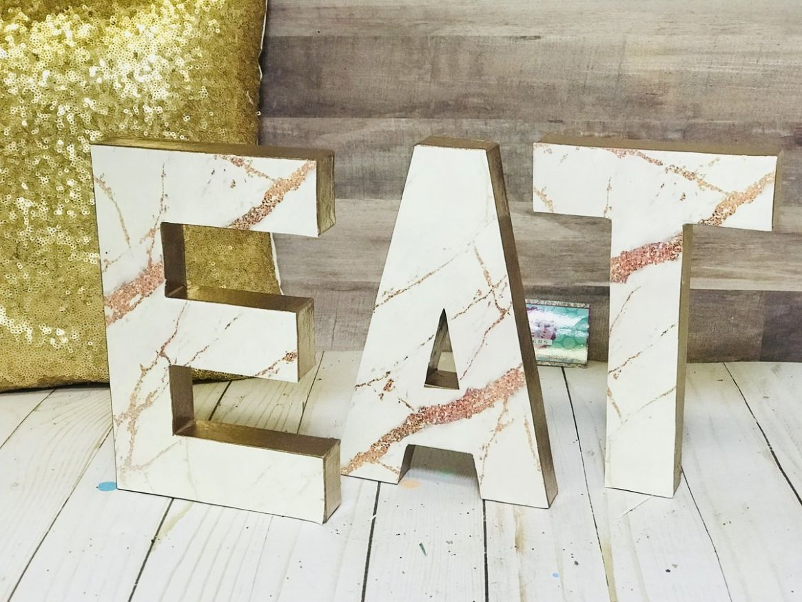Rose Gold Marble EAT Home Decor Letters - 9 inch