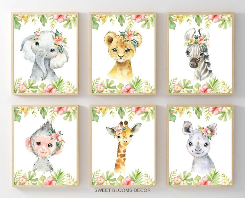 Safari Animals Girl Nursery Wall Art Watercolor Floral Tropical Flowers  Jungle Zoo Modern Shower Gift Baby Decor C9 - baby room wall art