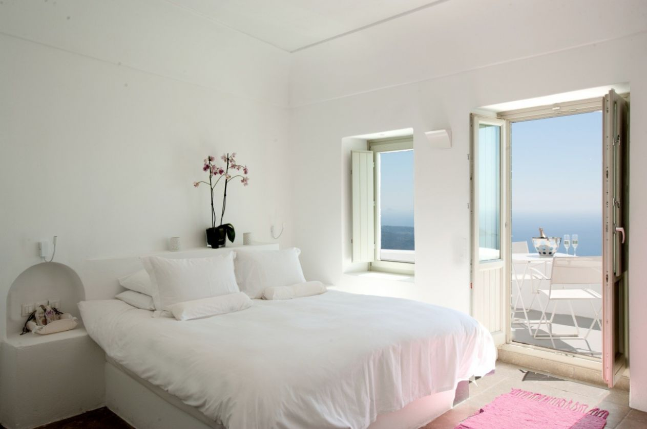santorini grace white bedroom with balcony | Interior Design Ideas