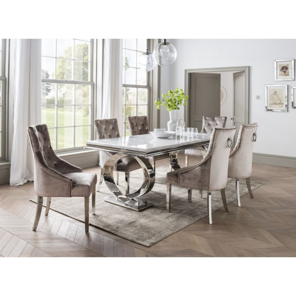Selene Dining Table Set - With Bone White 10 And 10 Champagne Chairs