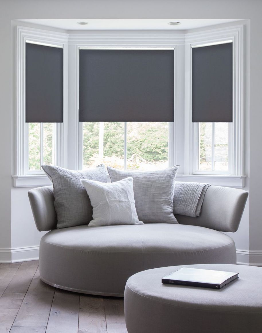 Serena Daybreak style roller shades shown in Gray make this white ...