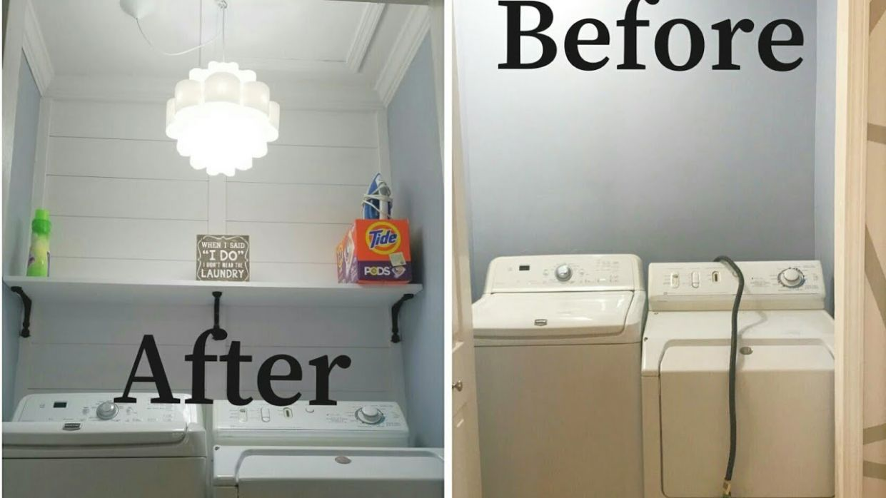 ?Simple DIY Laundry room Renovation for under $8!!!?