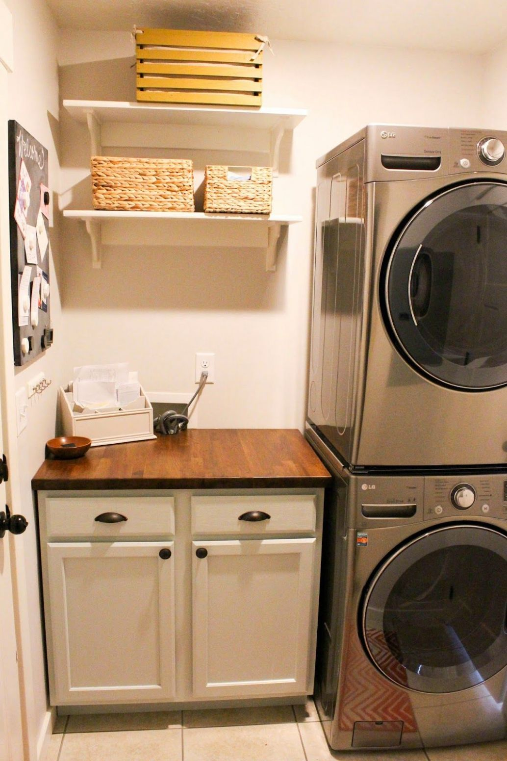 Simple laundry room with stackable washer and dryer. | Laundry ..