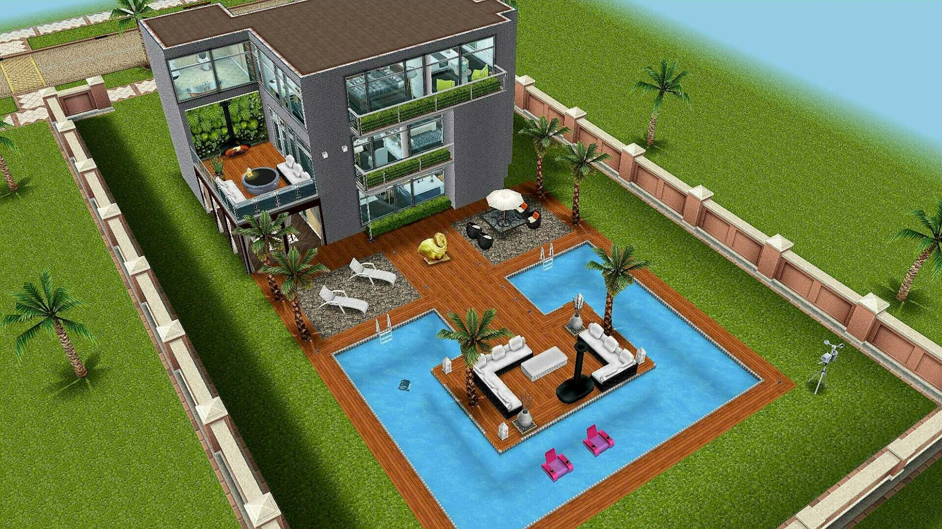 Sims FreePlay Beach house backyard original design | Haus - backyard ideas sims 4
