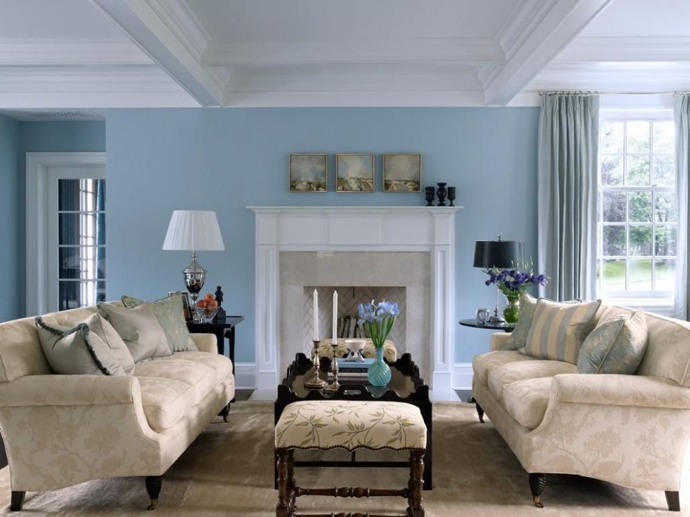 Sky Blue and White Scheme Color Ideas for Living Room Decorating ..