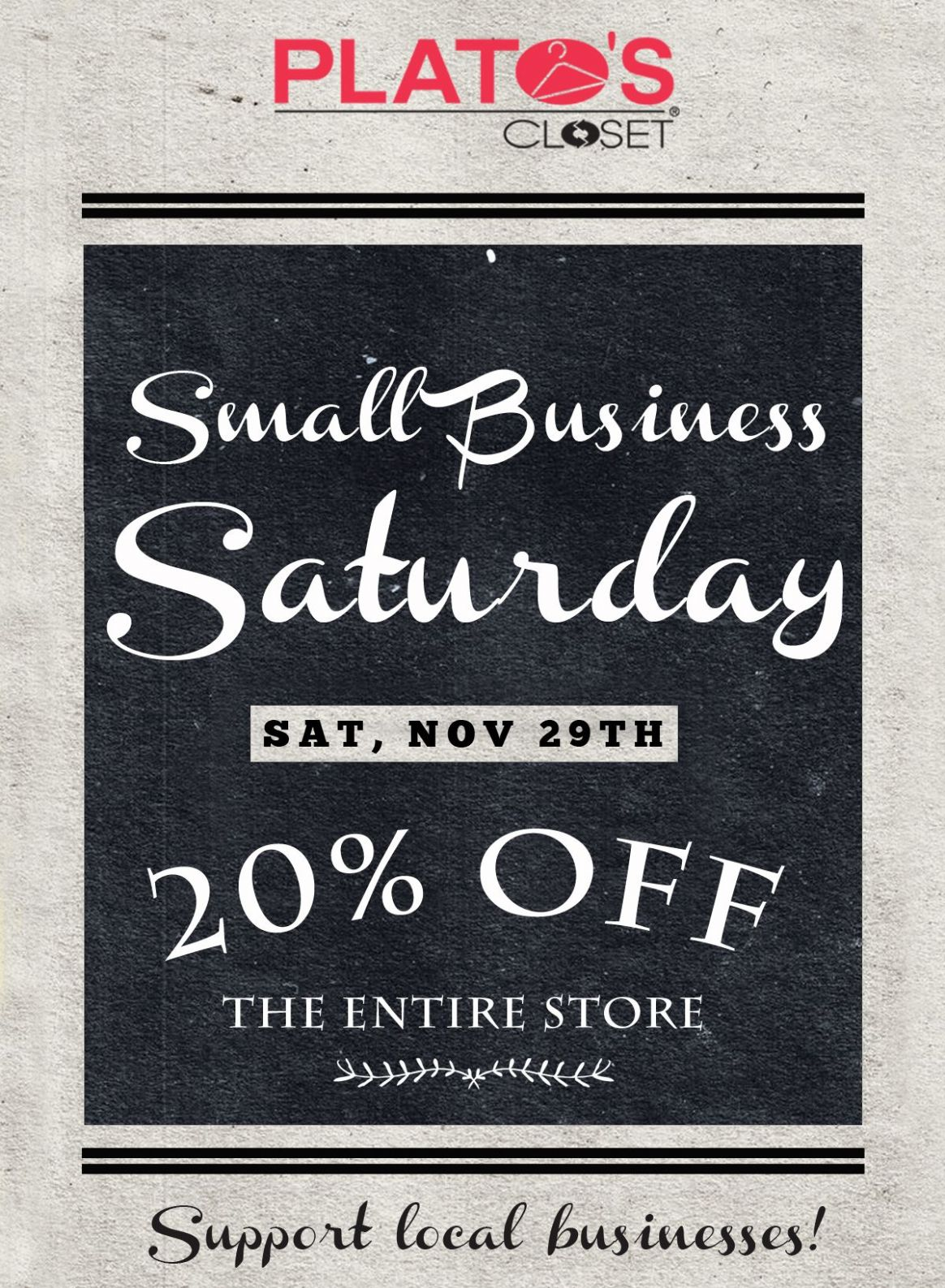 Small Business Saturday at Plato's Closet! | Support local ...