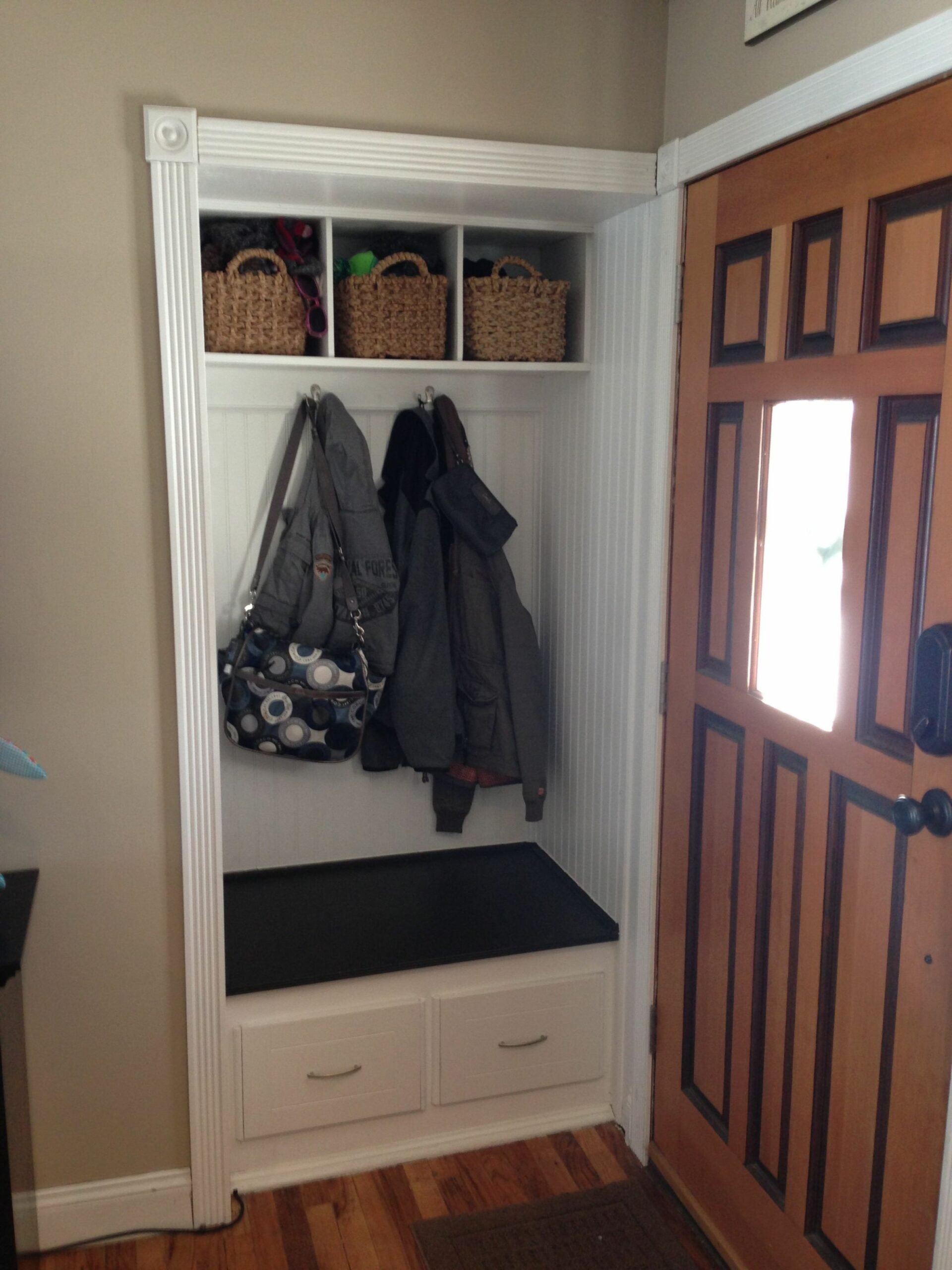 Small front hall closet turned in to mini mud room! | Front hall ..