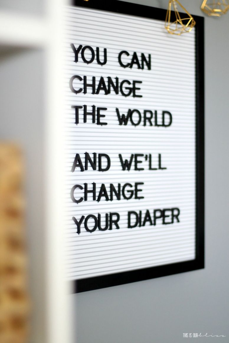 Sophisticated Neutral Nursery Reveal - Letter board nursery quote ..
