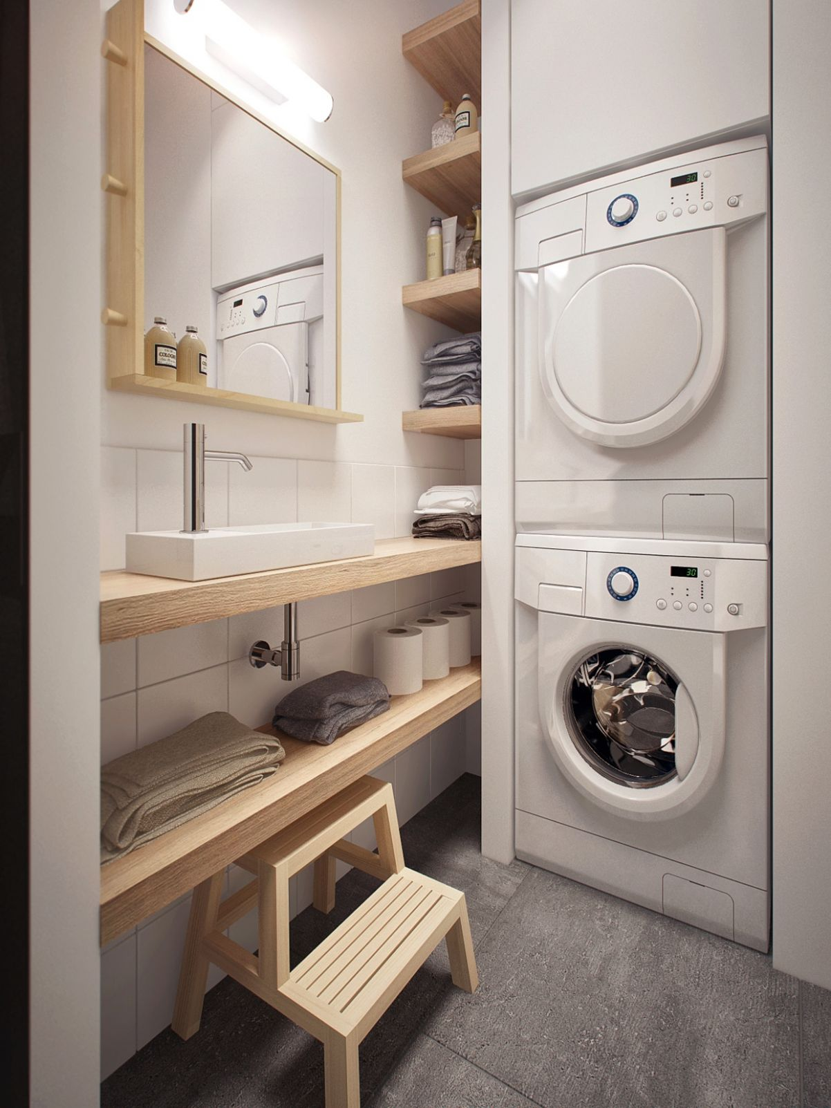 space efficient laundry room design | Interior Design Ideas.