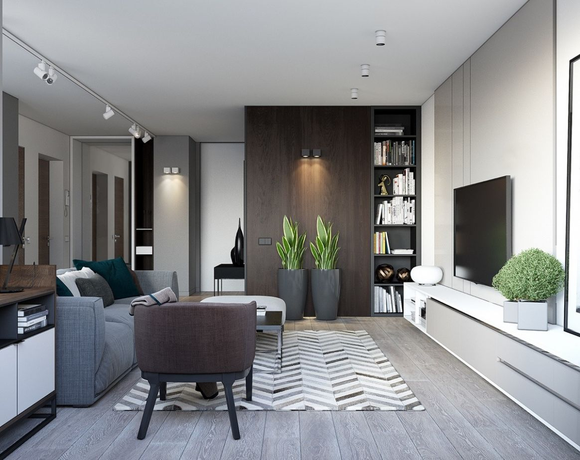 Spacious-Looking, One Bedroom Apartment With Dark Wood Accents - dining room ideas dark wood