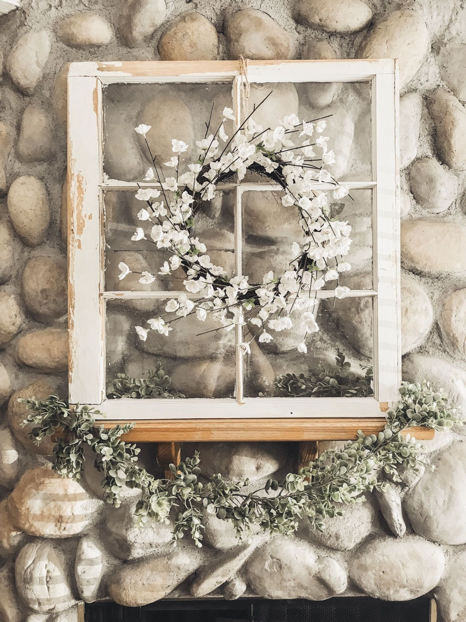 spring mantle, styling a mantle, garland, old window decor, spring ...