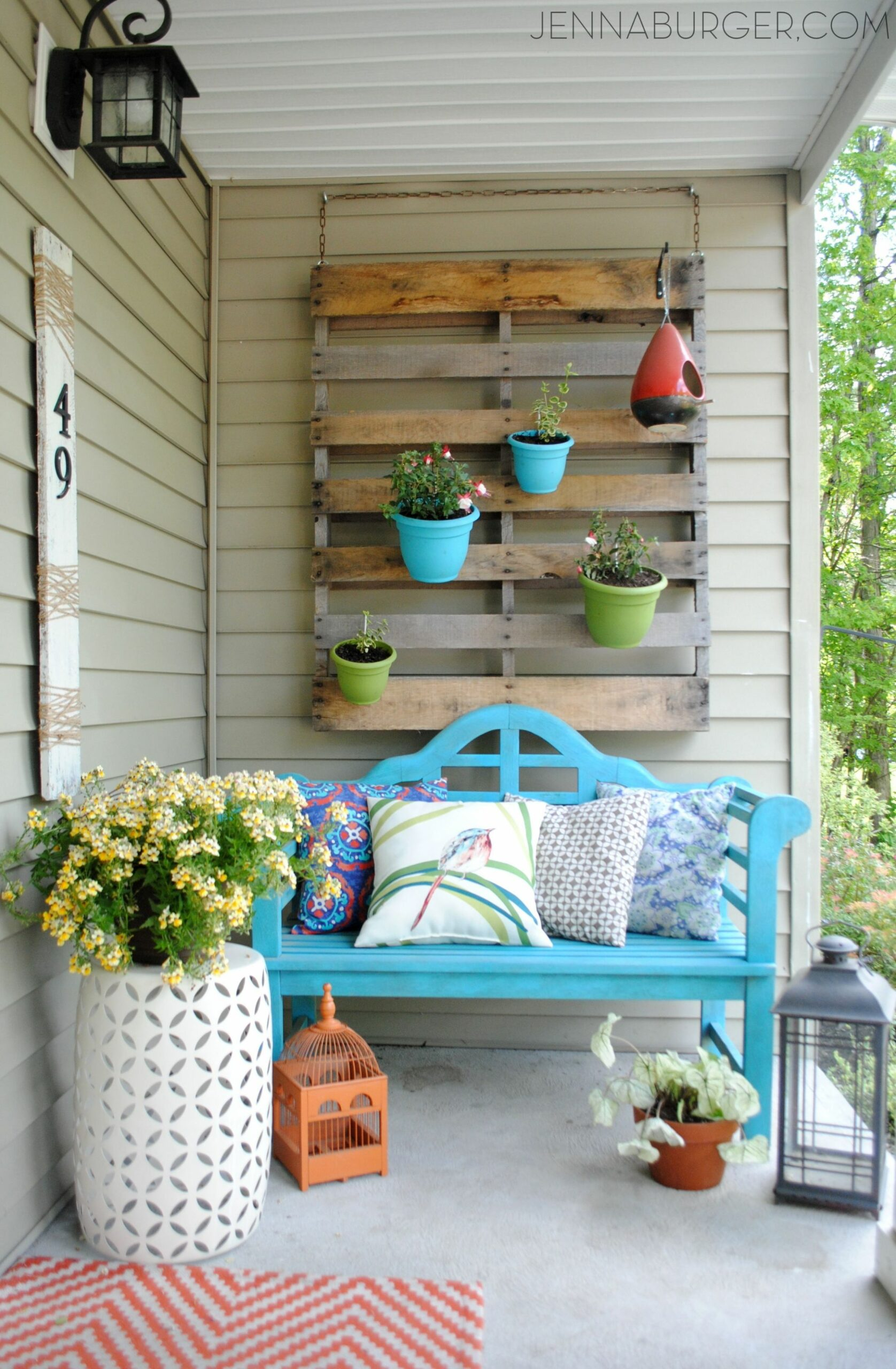 Spring + Summer Front Porch | Porch wall decor, Small front porches