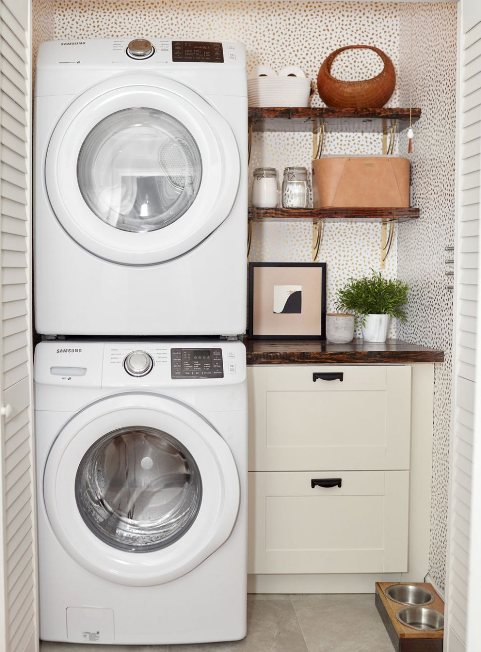 spruce creative studio — A Little Laundry Room Makeover - laundry room ideas stackable washer and dryer