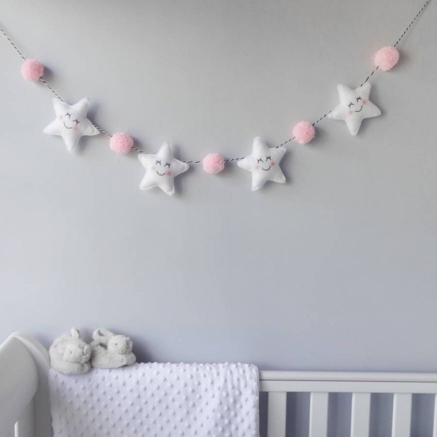 Star Garland With Honeycomb Pom Poms | Baby decor, Baby crafts ...