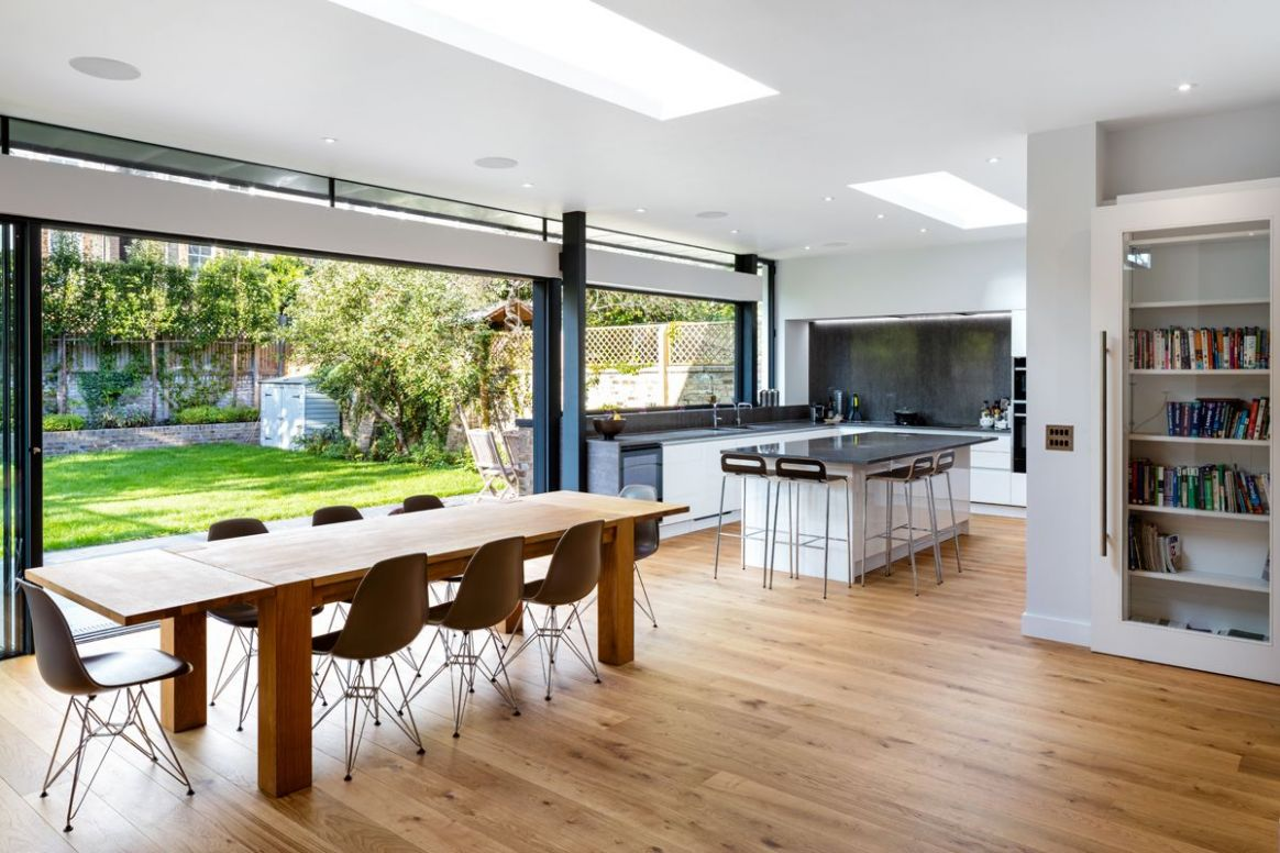 Stunning glass kitchen, dining, family room extension with roof ..