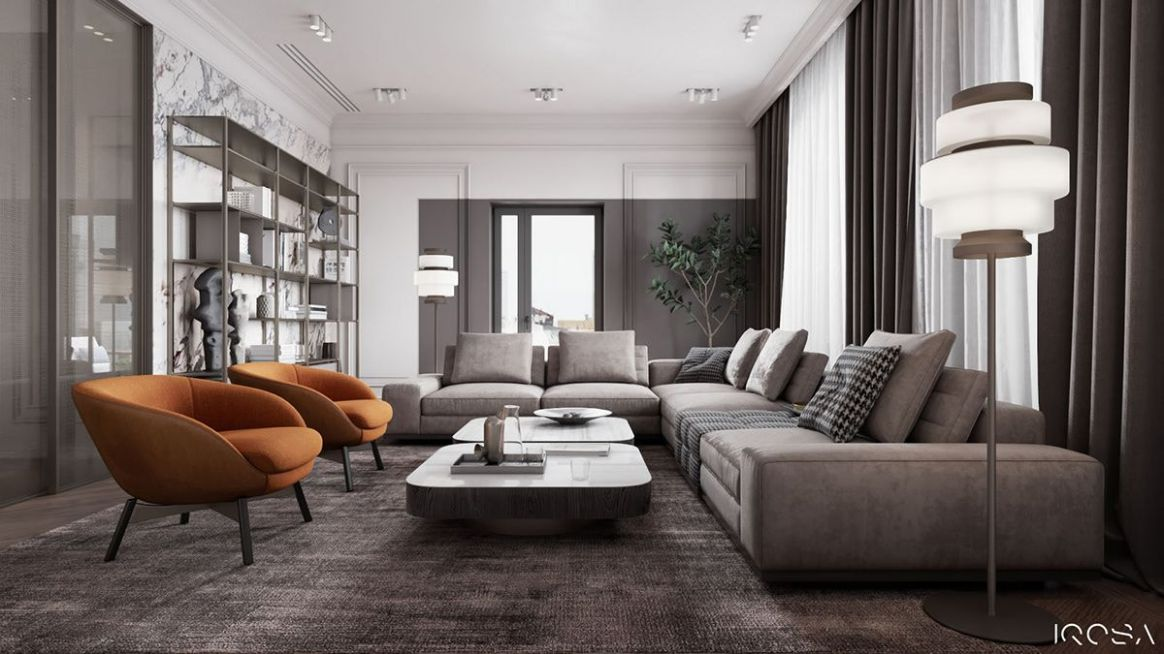 Stylish apartment on Behance | Monochromatic living room, Stylish ...