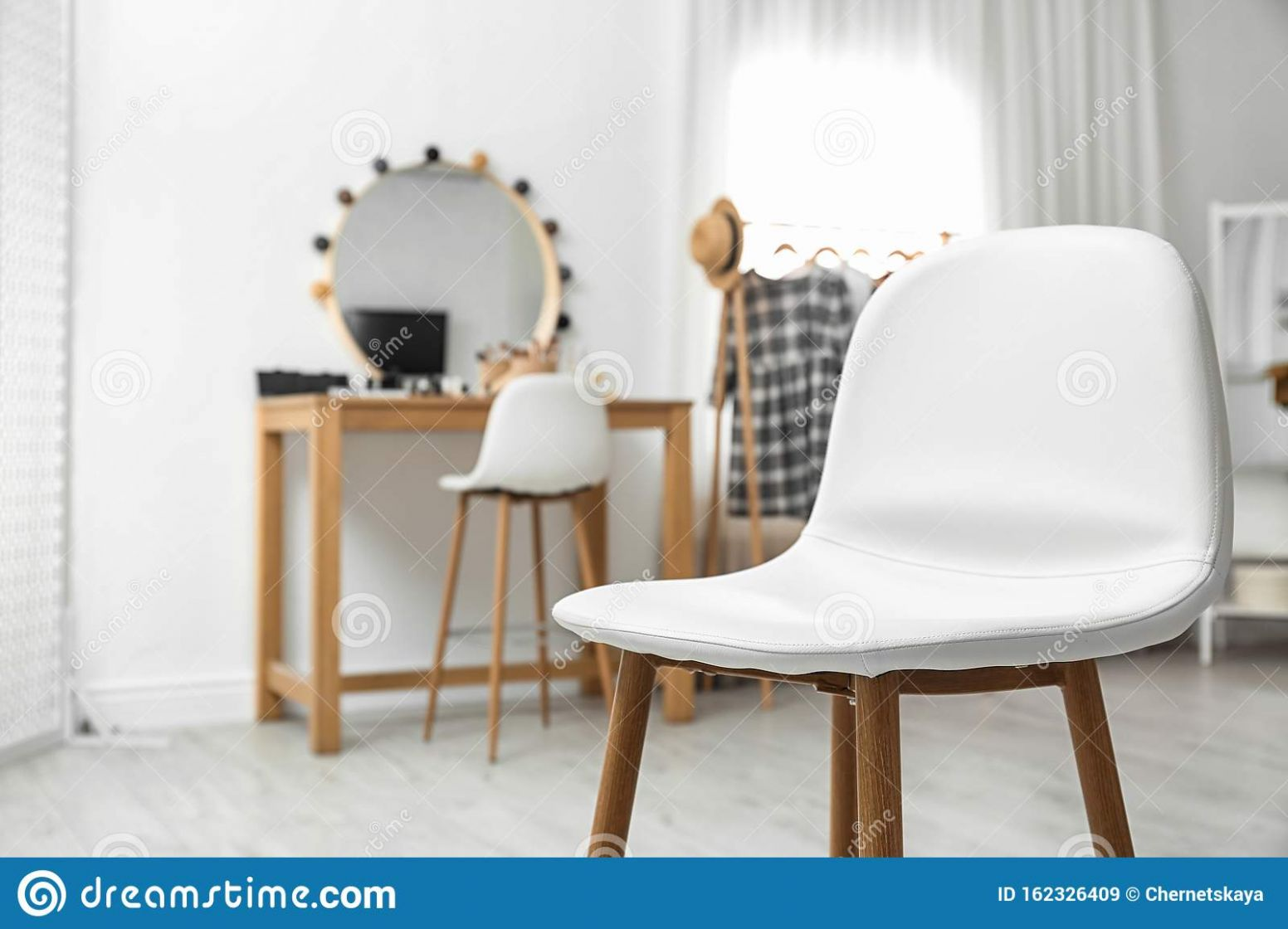 Stylish White Chair In Makeup Room Interior Stock Image - Image of ..