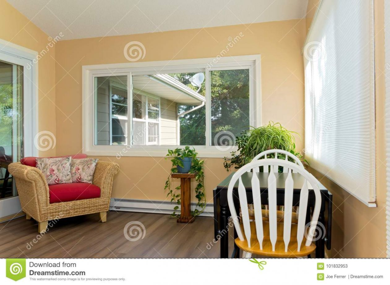 Sunroom With Furnishings And Window View Stock Image - Image of ...