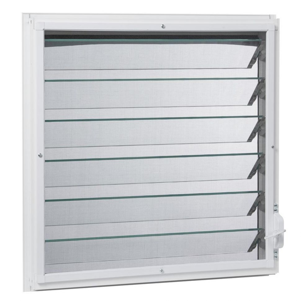 TAFCO WINDOWS 11 in. x 11.11 in. Jalousie Utility Louver Aluminum Screen  Window - White