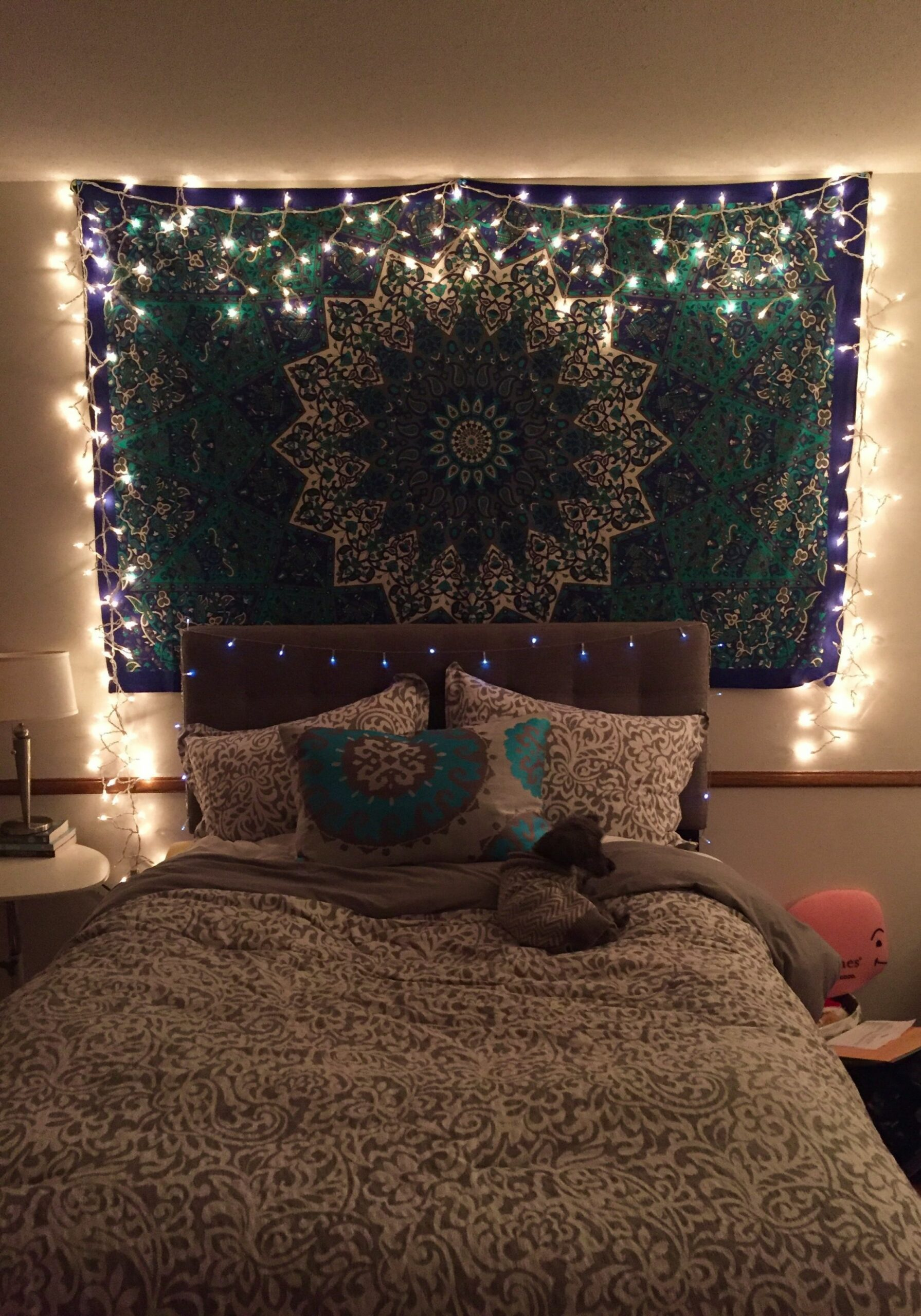 tapestry with icicle lights | Turquoise bedroom decor, Turquoise ...