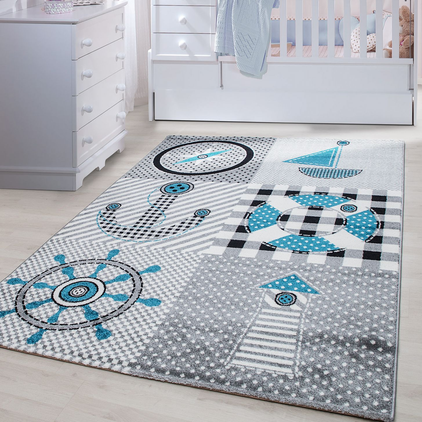 TEPPIUM Kids Play Mat rug Baby Room Colourful Pirate Carpet Grey carpet |  Ceres Webshop