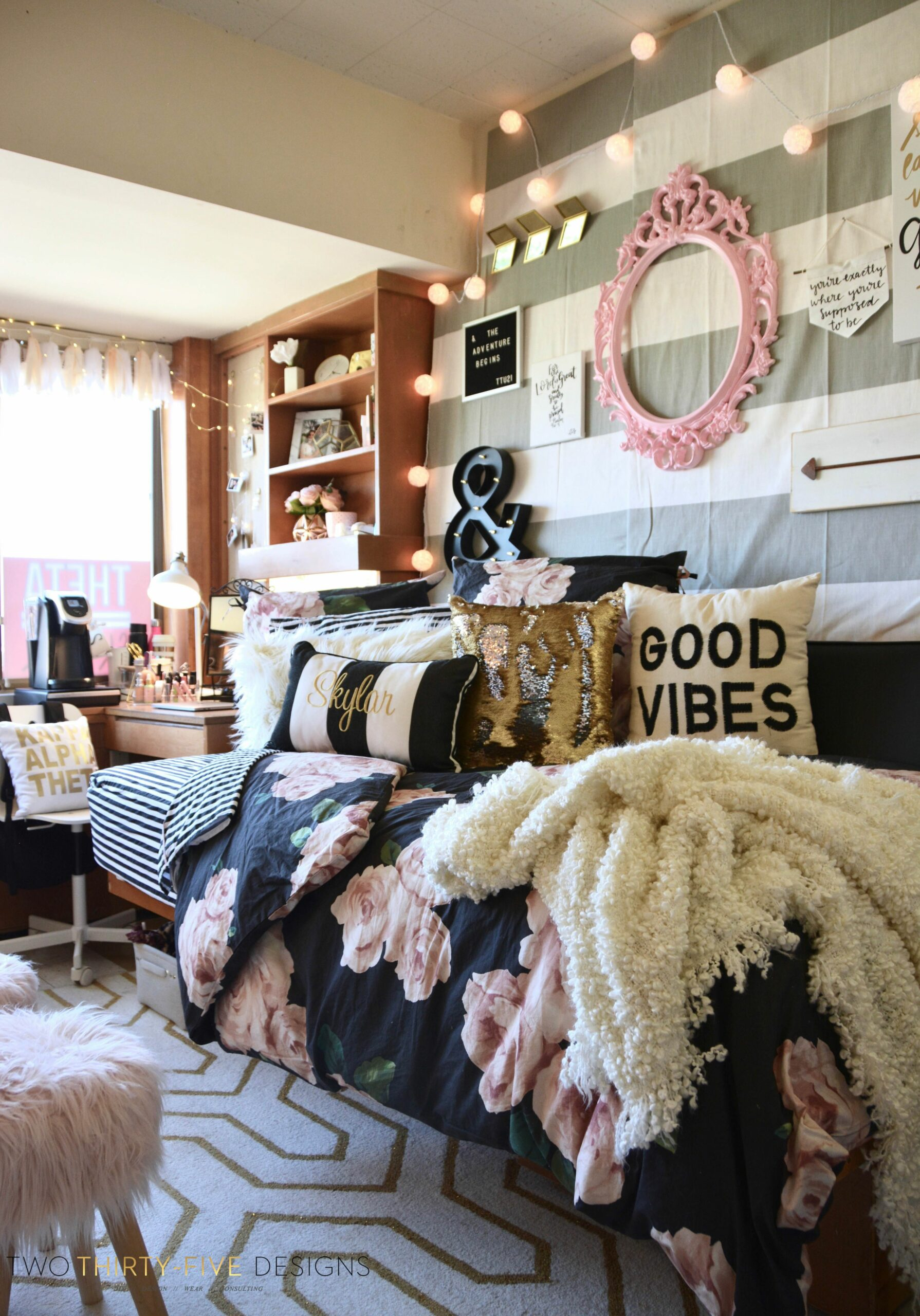 Texas Tech Chitwood Dorm Room Makeover - Two Thirty-Five Designs - dorm room design and decor unit