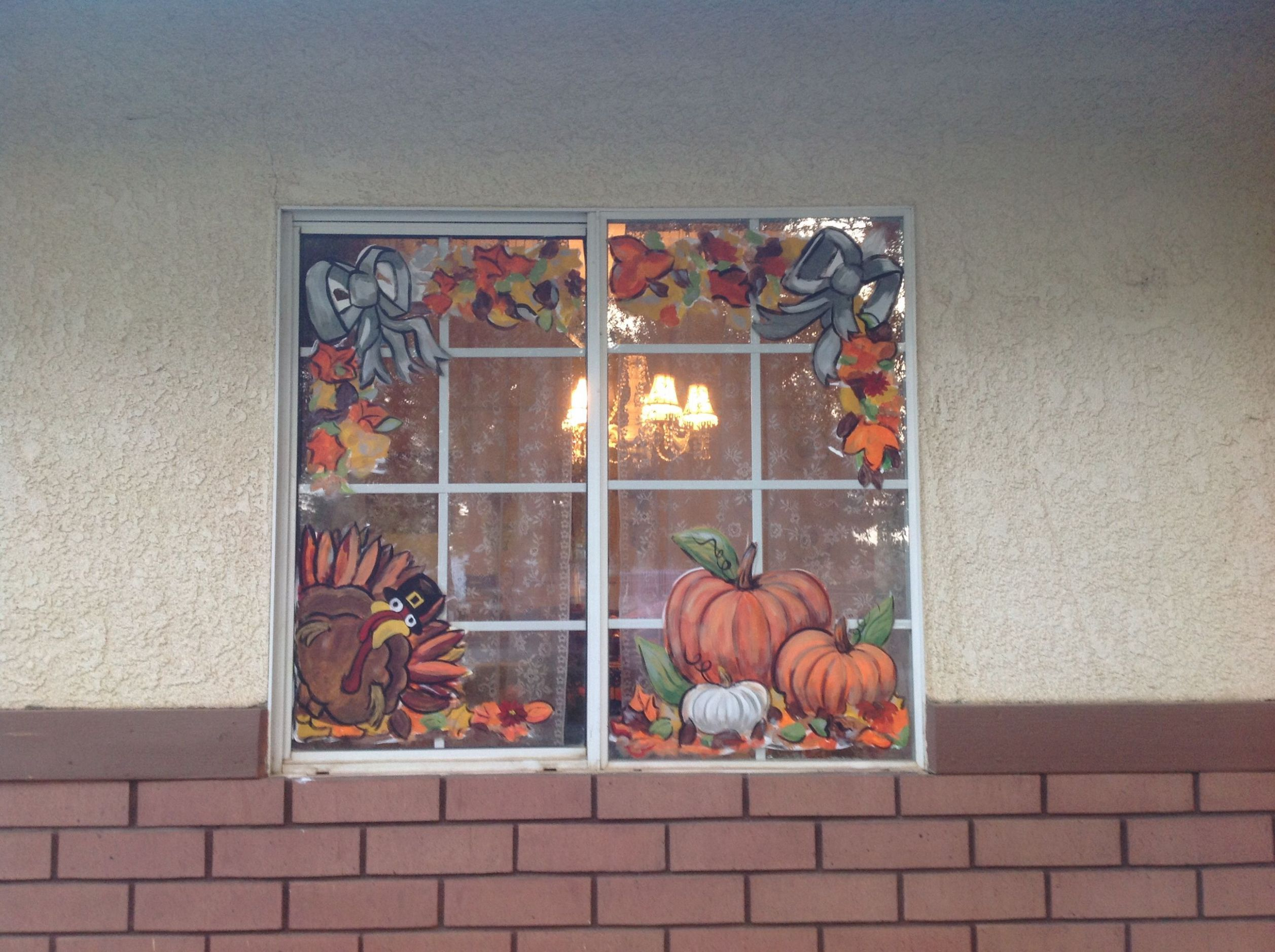 Thanksgiving /fall windows, love it! | Window art, Window painting