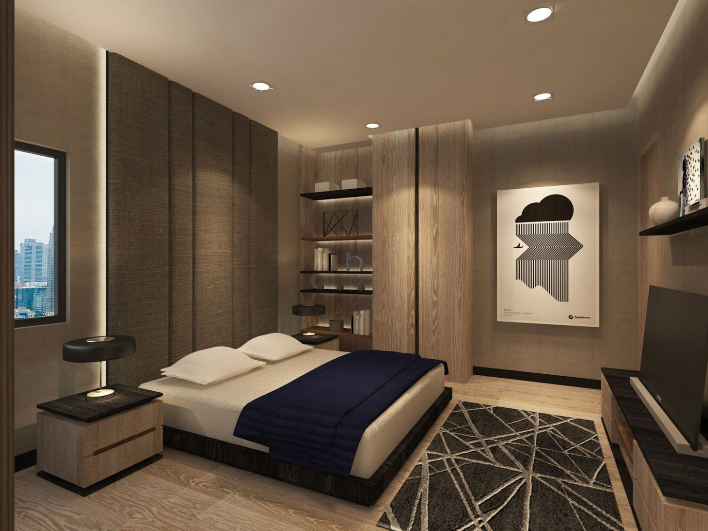 The master bedroom of an apartment in Sudirman, Jakarta. Designed ..