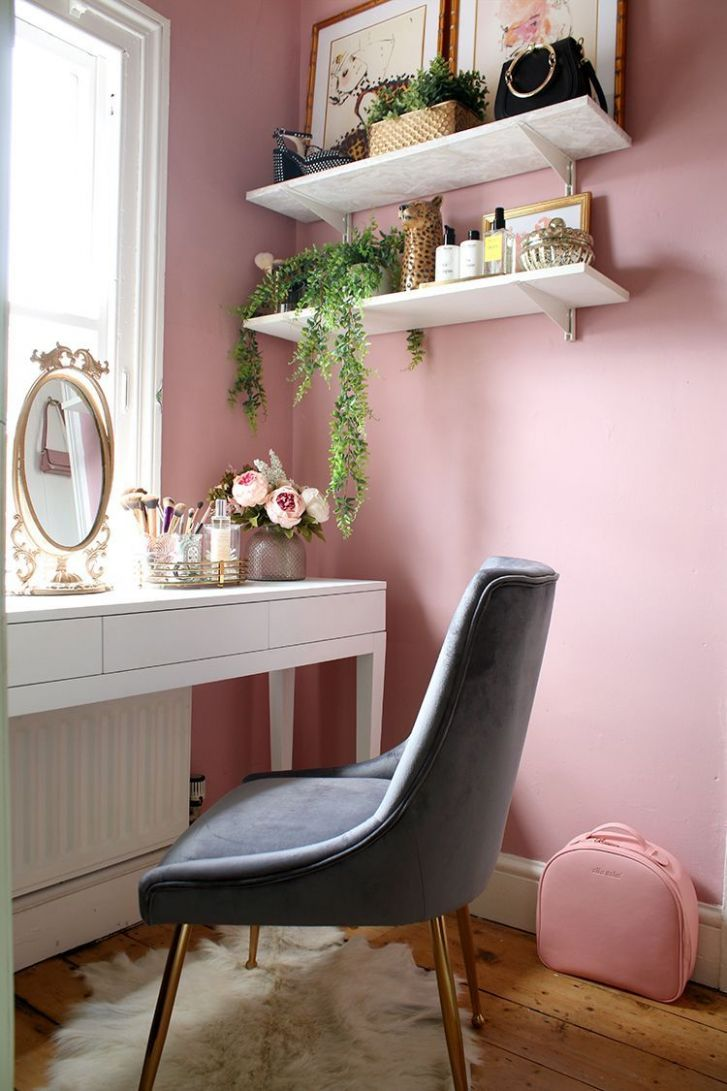 The Reveal of My Tiny Makeup Room & Vanity Space | Pink bedroom ...