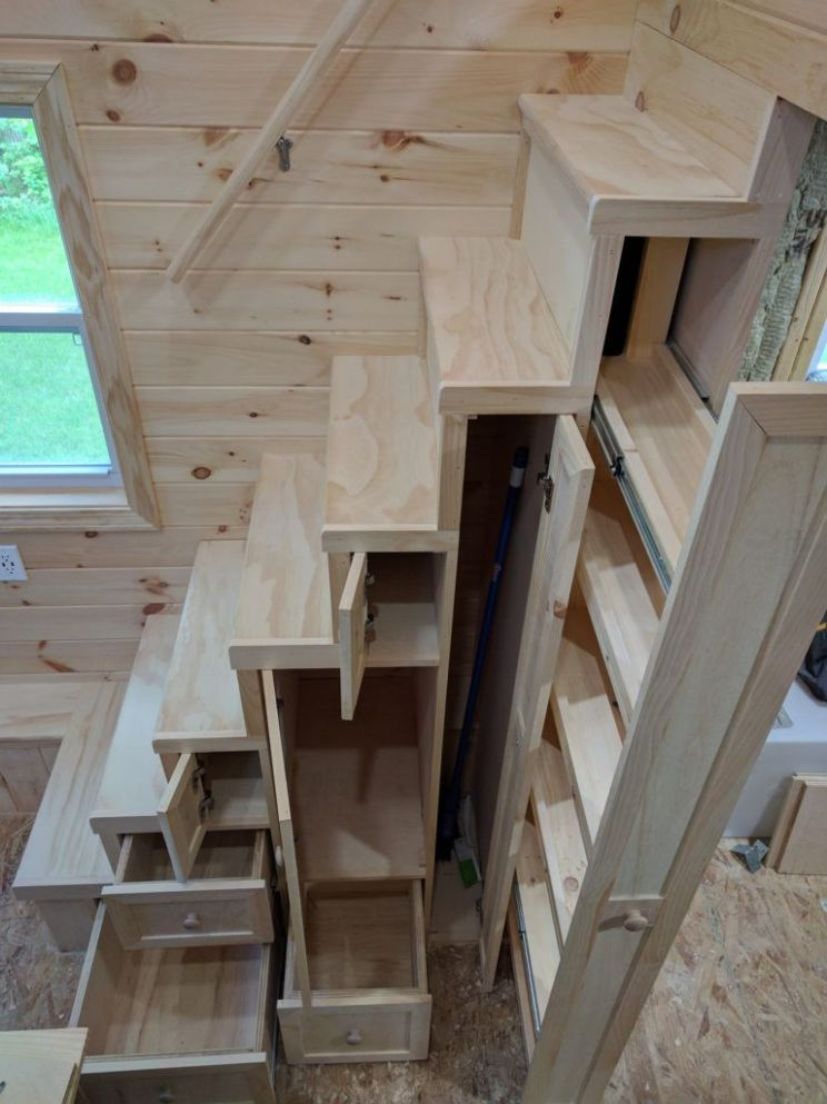These Tiny House Stairs have plenty of storage. Three drawers, a ..