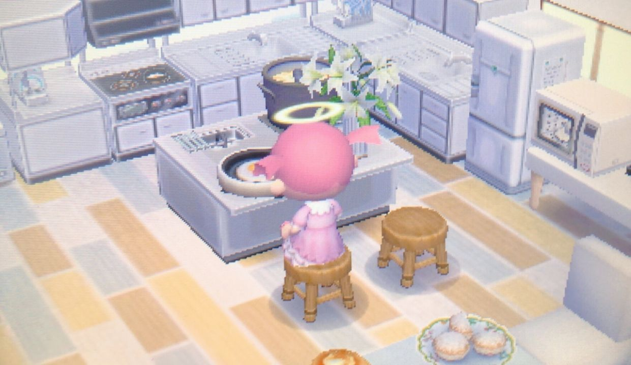 this is a part of my kitchen in acnl! on We Heart It - acnl house inspiration