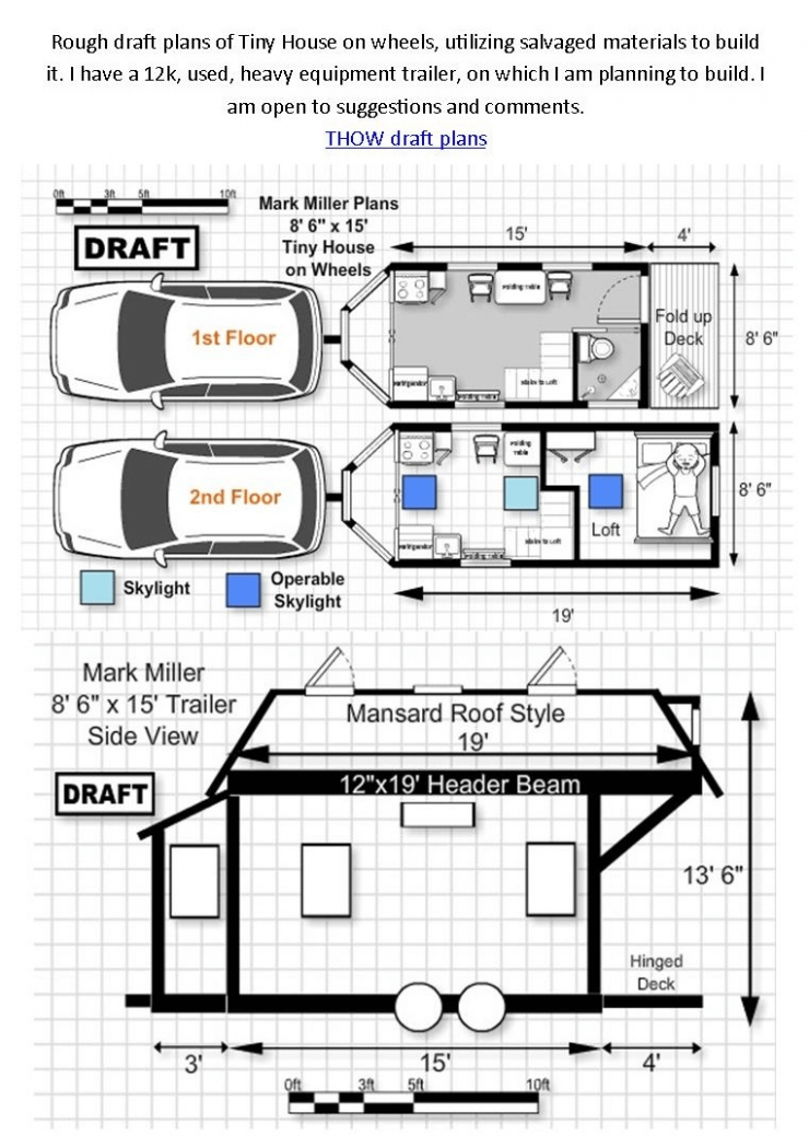 Tiny house on wheels floor plans 9st and 9nd floor | Kleines haus ..