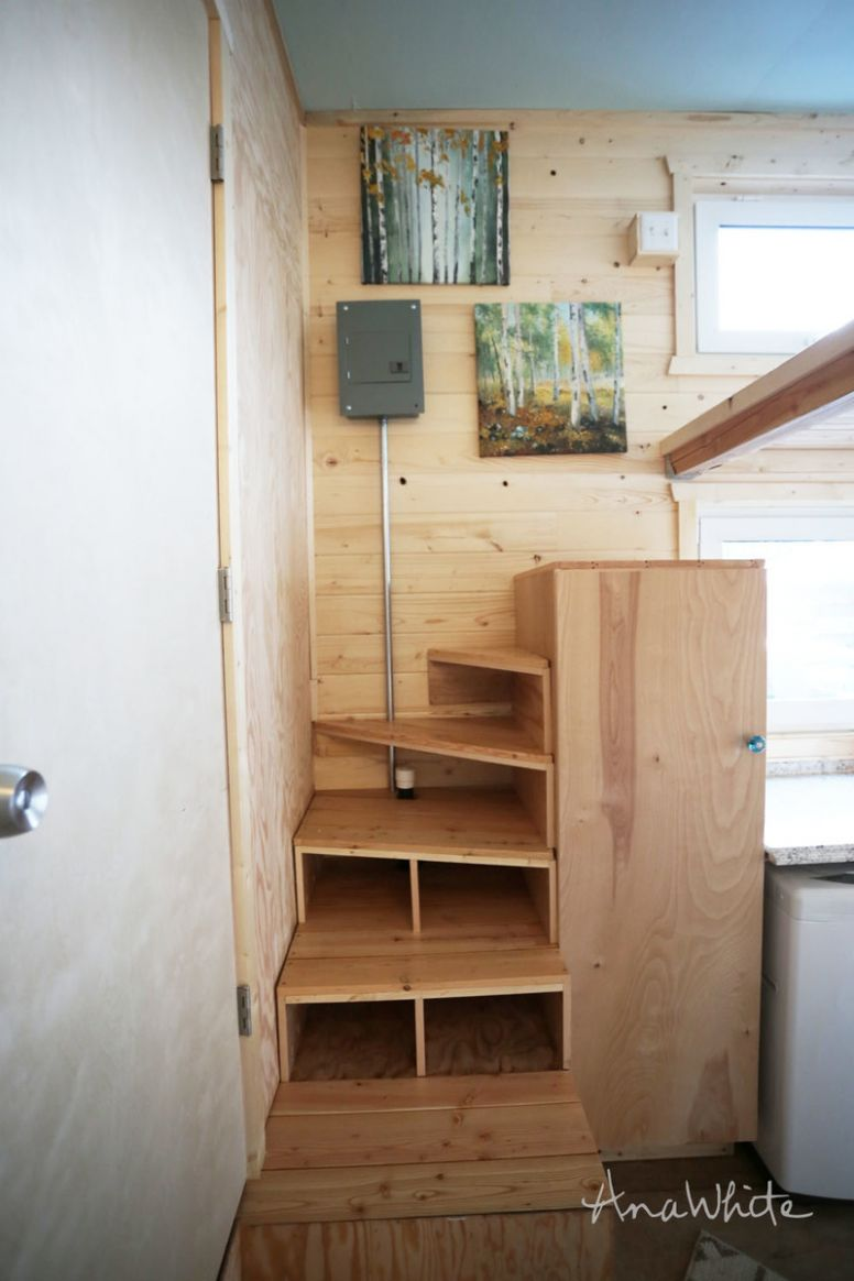 Tiny House Stairs - Spiral Storage Style | Ana White - tiny house stairs