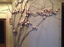 Tree art, twig art for wall decor, wall art with mountain laurel ...