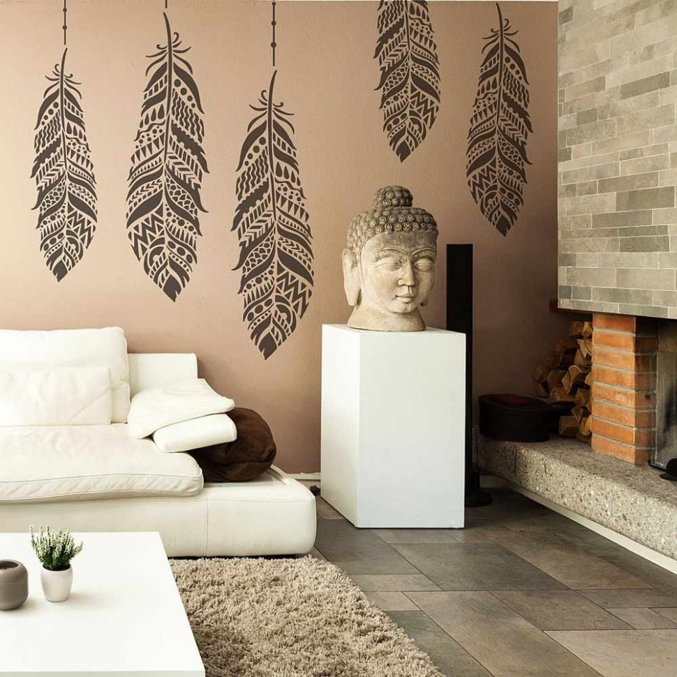 Tribal Feather Wall Art Stencil