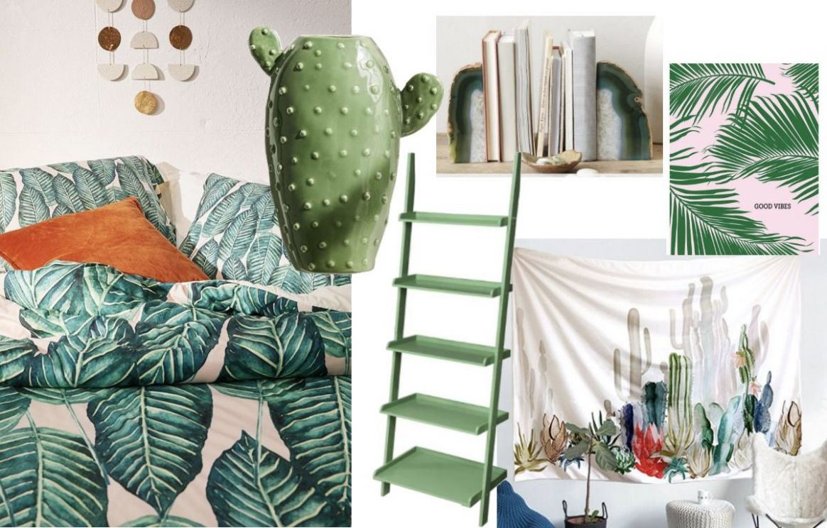 Tropical green dorm room inspiration shopping guide with pieces ..