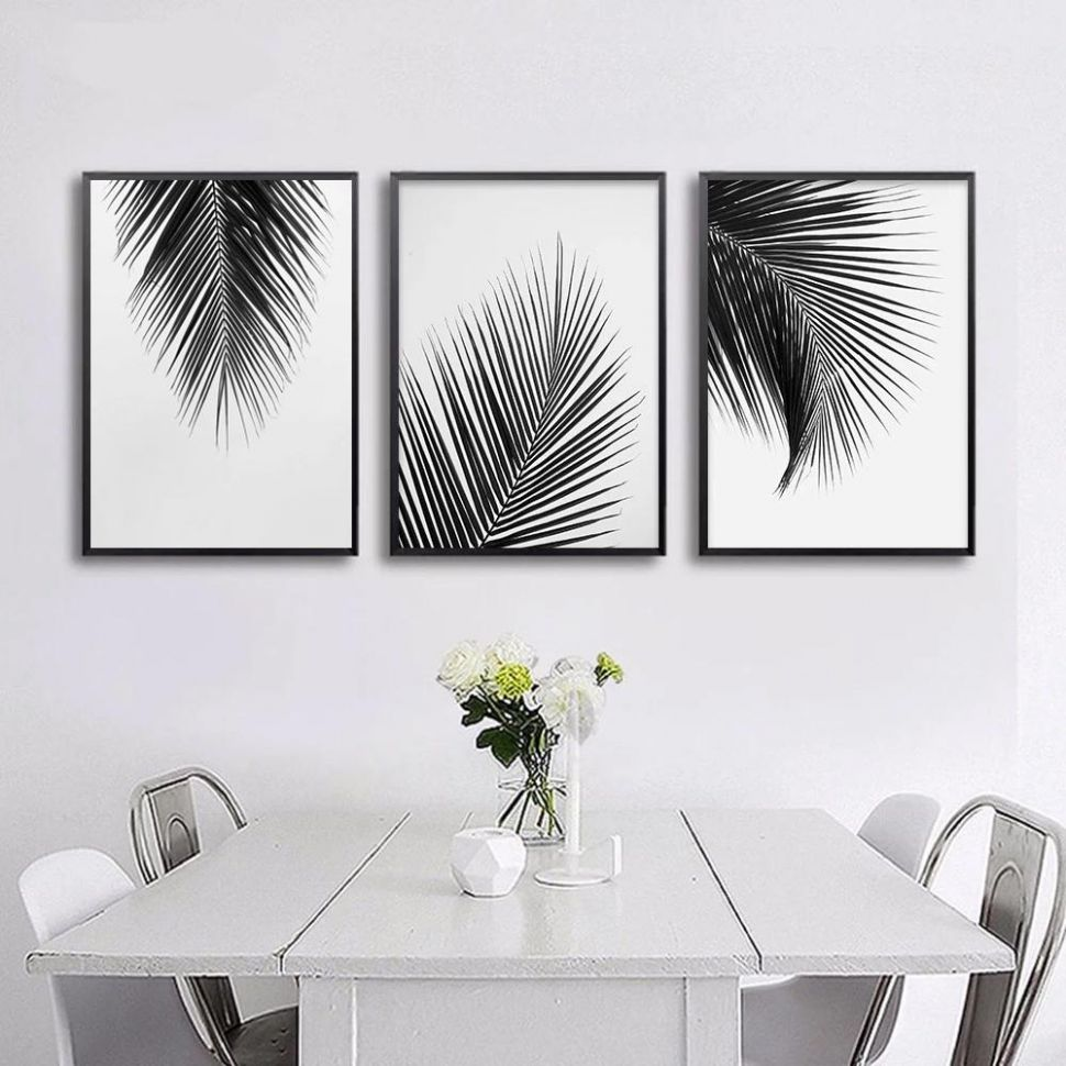 Tropical Palm Leaves Simple Minimalist Black & White Wall Art Posters Fine  Art Canvas Prints For Living Room Modern Scandinavian Interior Design - wall decor ideas black and white