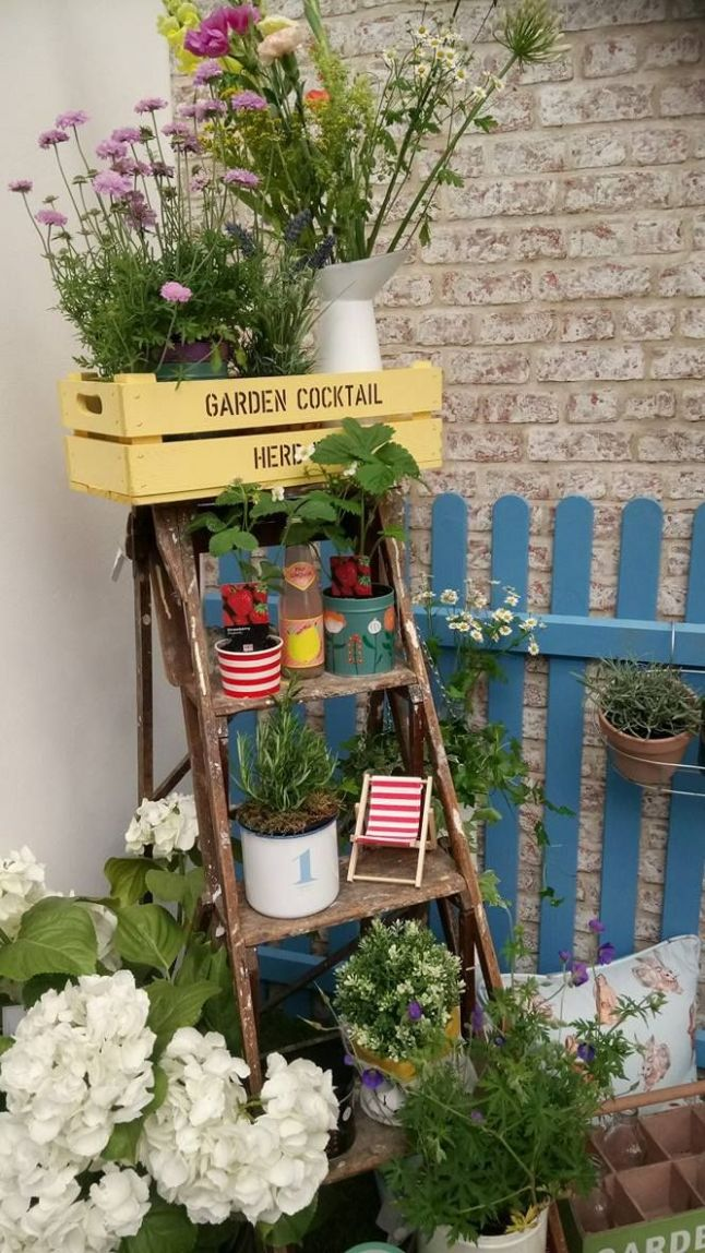 Turn some old step ladders into a quirky garden feature by ..