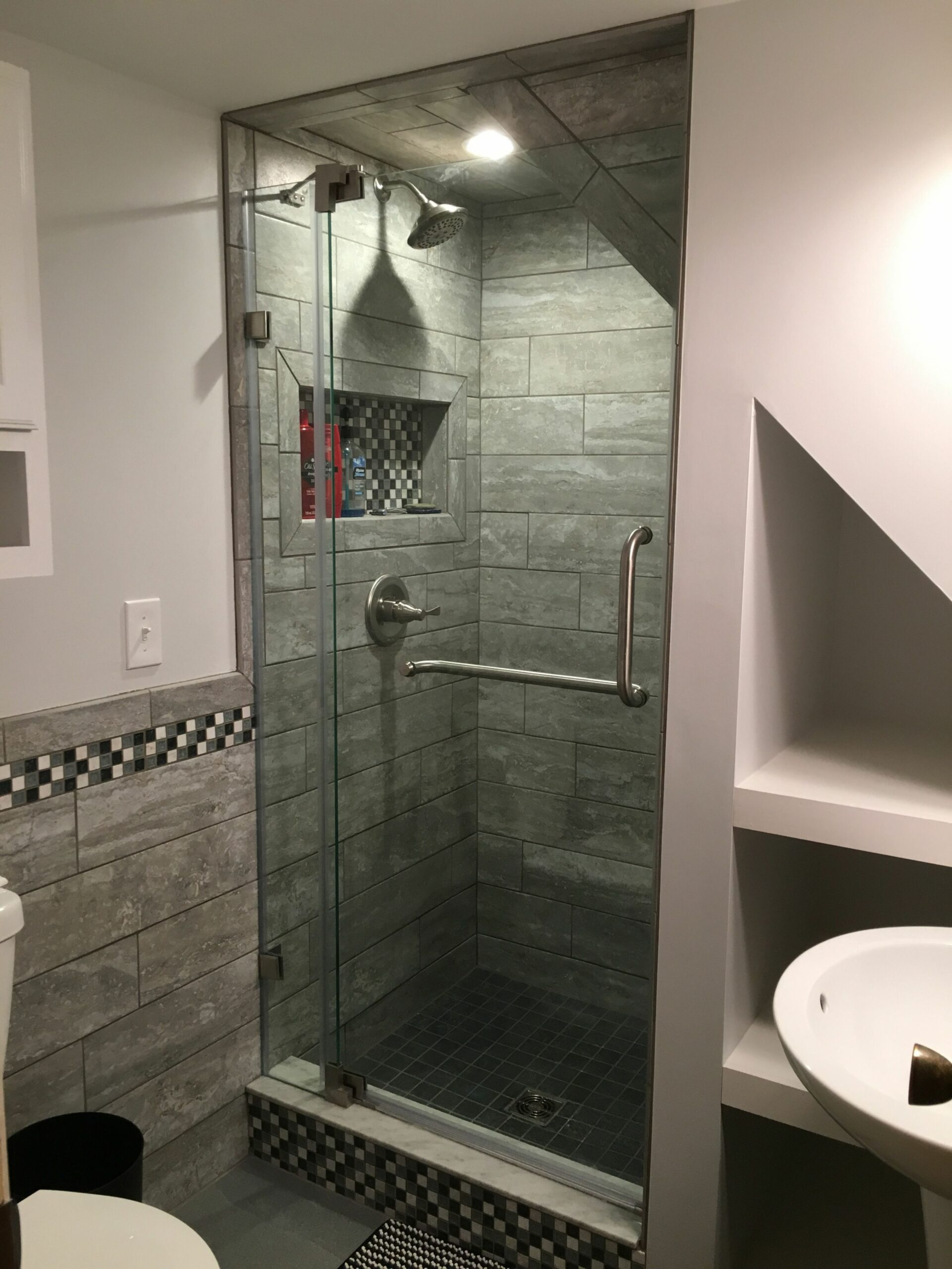 Under the stairs shower | Cheap bathroom remodel, Bathroom under ..