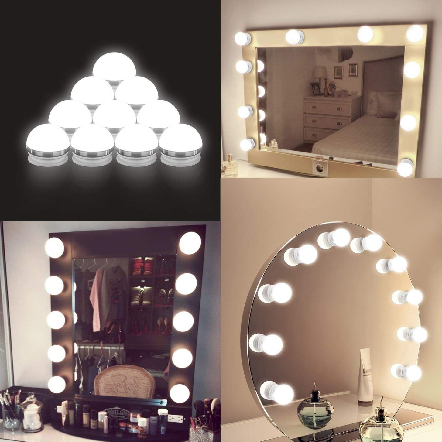US $10.10 10% OFF|Hollywood Style USB LED Vanity Mirror Lights Kit Dimmable  Bulbs and Touch Dimmer for Makeup Vanity Table Set in Dressing Room|LED ..