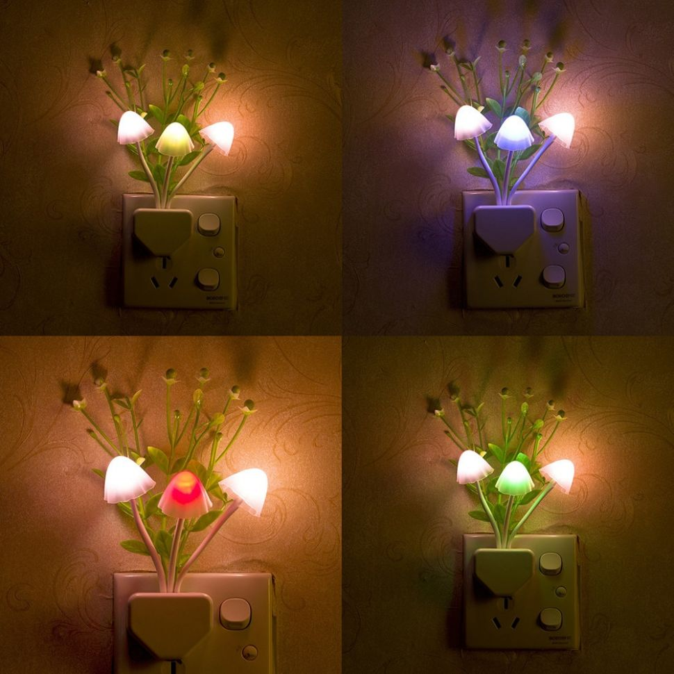 US $10.10 |Night Light Romantic Colorful Sensor LED Mushroom Night Light  Wall Lamp Home Decor Home Garden Bedroom Decoration Lights FF#|LED Night ...