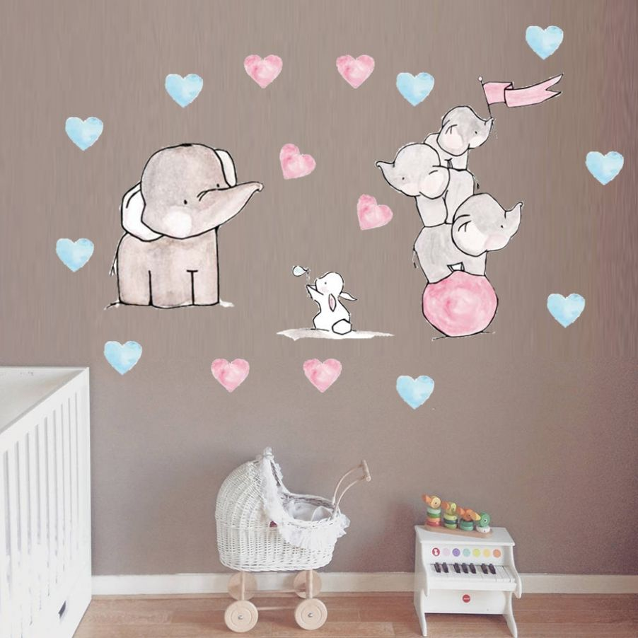 US $11.11 11% OFF|Cartoon elephant rabbit wall sticker cute funny Animal  pattern for baby room wall decorations living room kids room wall art|Wall  ..
