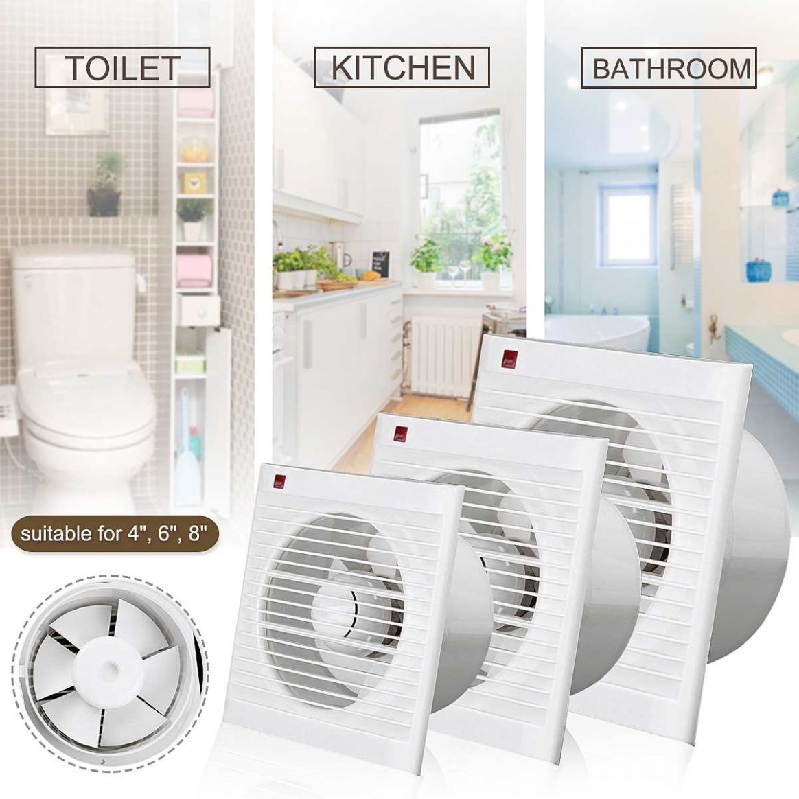 US $12.12 12% OFF|12Inch 12 Inch 12 Inch Waterproof Mute Bathroom Extractor  Exhaust Fan Window For Kitchen Toilet Ventilation Fans|Exhaust Fans| | - ..