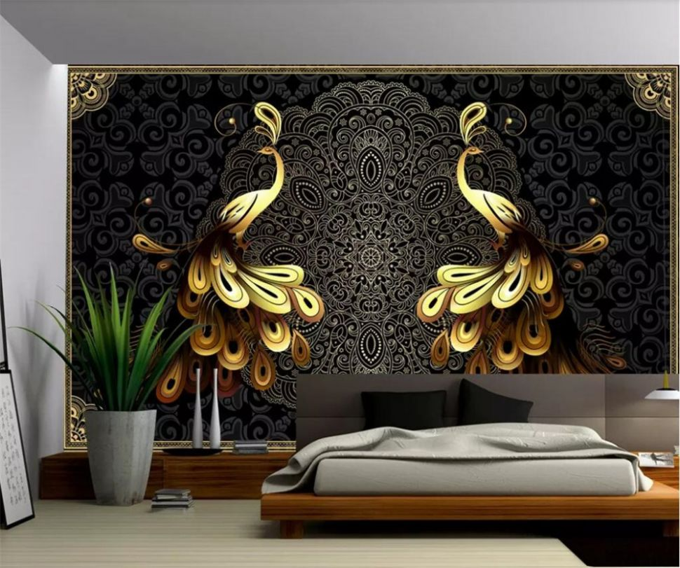 US $12.125 12% OFF|beibehang Custom large wallpaper 12D mural luxury European  black gold peacock background wall papers home decor papel de ..