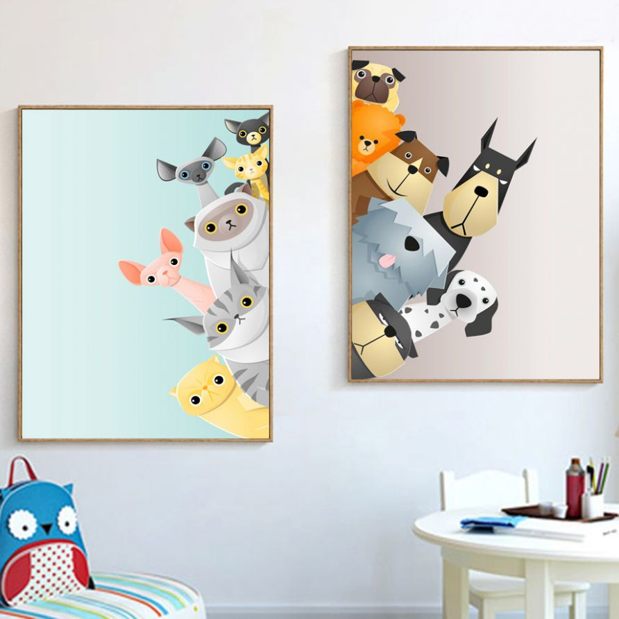 US $12.127 12% OFF|Cartoon Dalmatian Dog Cat Wall Art Canvas Painting Nordic  Posters And Prints Nursery Wall Pictures For Kids Room Baby Room ..