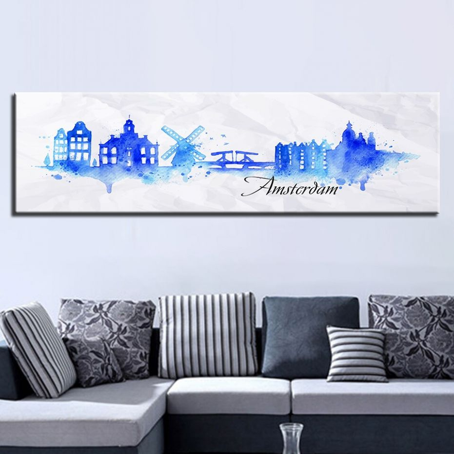 US $122.122 1220% OFF|Canvas Pictures Home Decor 12 Piece Watercolor City  Painting Printed Amsterdam Netherlands Landscape Poster Living Room Wall ...