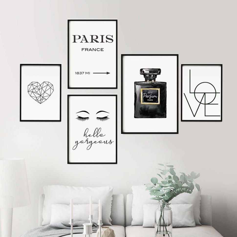 US $8.8 8% OFF|Black And White COCO Perfume Decor Makeup Wall Art Lashes  Canvas Painting Fashion Pictures Bedroom Wall Decor quadro cuadros|Painting  ..