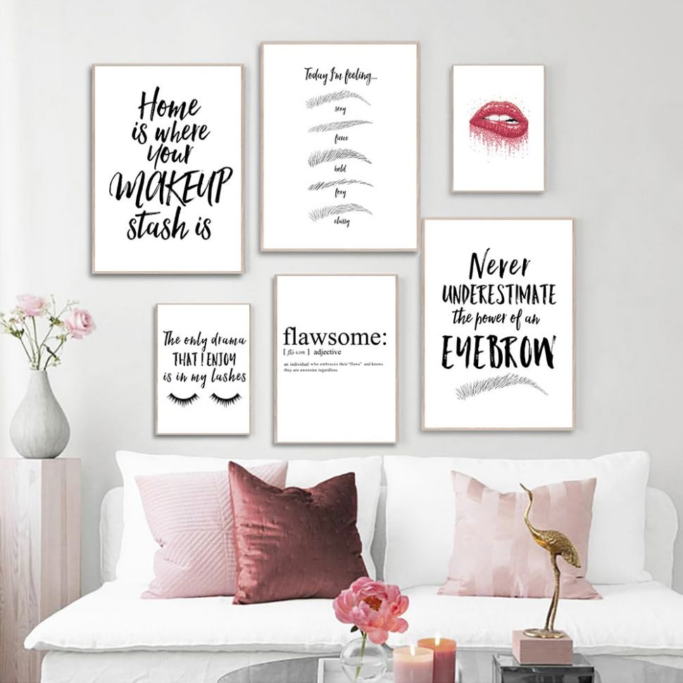 US $8.8 8% OFF|Makeup Quotes Print Painting Eyebrow Lips Eyelashes Black  And White Picture Beauty Salon Wall Art Posters Home Room Wall ...