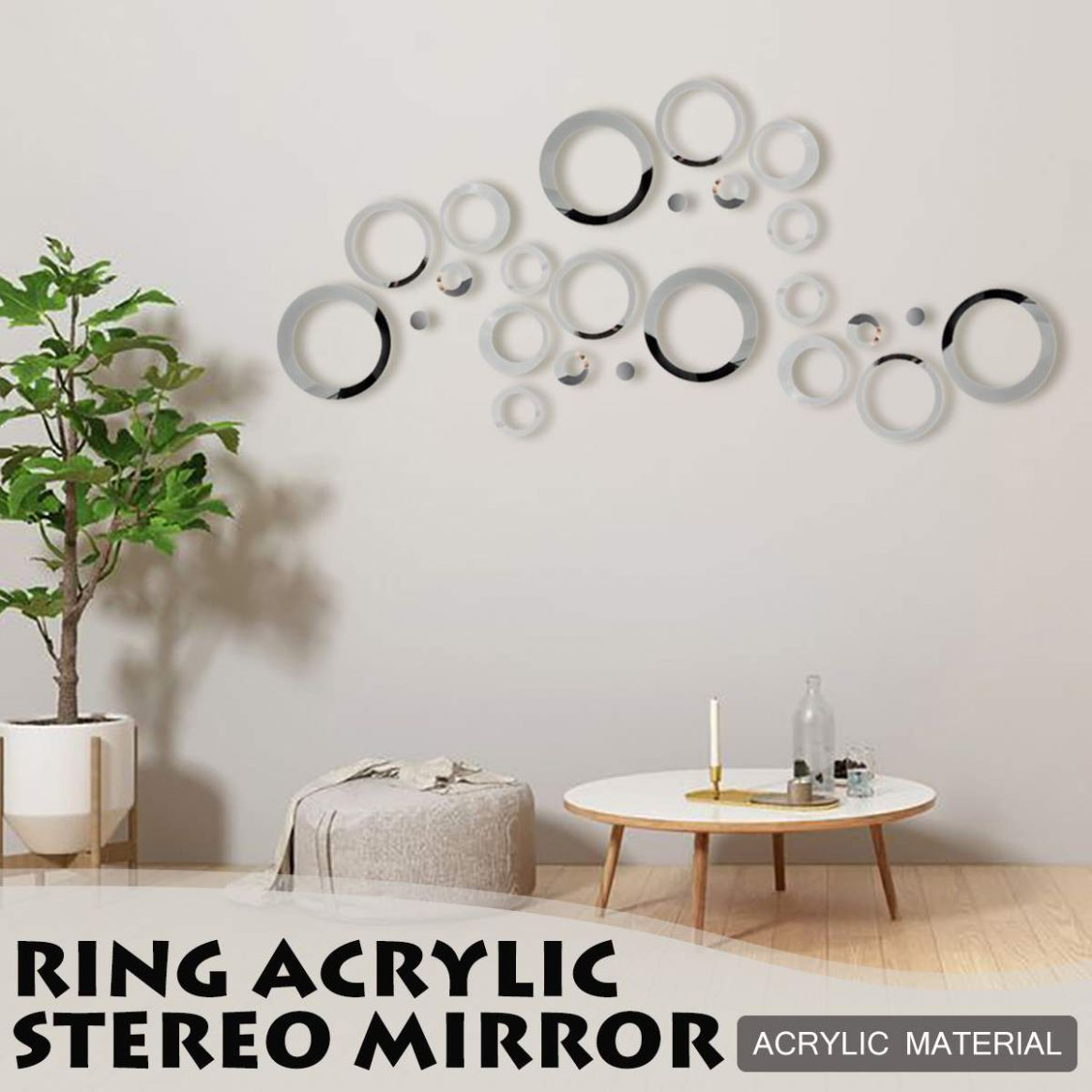 US $9.79 9% OFF|94pcs/set 9D DIY Circles Wall Sticker Home Decoration  Mirror Wall Stickers for TV Background Home Decor Acrylic Decor Wall ...