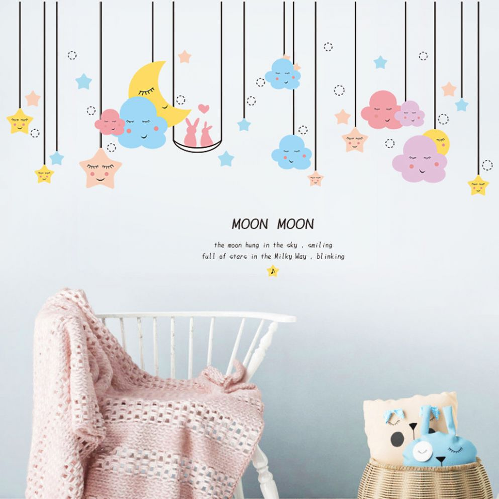 US $9.9 9% OFF|KAKUDER Wall Stickers Star Moon Wall Sticker Kids Baby  Nursery Room Decor Child Gift Decal Decoration Mural Art Wall Sticker|Wall  ..